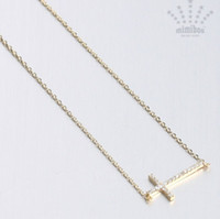 Wholesale Wholesale Sideways Cross Necklaces - Free Shipping 50pcs lot Alloy Horizontal Sideways crystal Cross Necklace Gold Silver charms jewelry