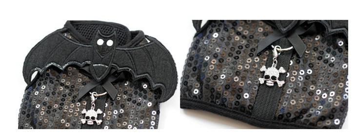 Giltter batman design cão harness leash conjunto com fantasma charme preto pet filhote de cachorro fresco macio cinto de harness