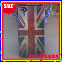 Wholesale Iphone 4s Retro Usa - Retro National UK USA Flag Hard Plastic Matte Case For Iphone 4S 4, 20pcs lot Free Shipping