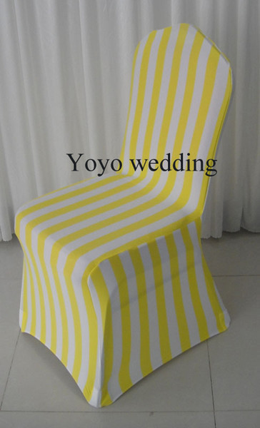 Free Shipping: 100PCS A Lot Yellow Stripe Print Spandex Banquet Chair Covers 100PCS For Wedding Use