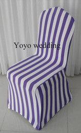 White Wedding Chairs Wholesale Canada - White & Purple Stripe Print Spandex Banquet Chair Cover With Free Shipping For Wedding,Party,Hotel Decoration Use