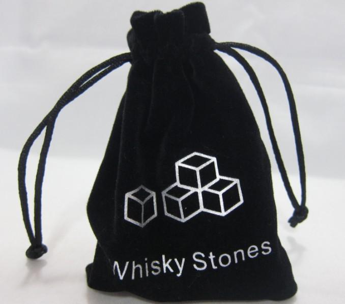 2013 NYHET! 100% naturlig whisky sten 12st set med en sammet väska, / whisky rock is sten iskube stenar