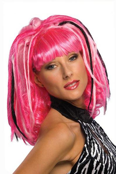 2012 halloween costumes wigs punk girl wig pink hot pink and light pink with black dreads shoulder ciel cosplay wavy wigs from toystory2012 903 dhgate