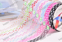 Wholesale Organza Dot Ribbon - DIY material Nylon Organza Printed Ribbon Candy Color ribbon for gift packaging & DIY headband bowknot 200Y roll