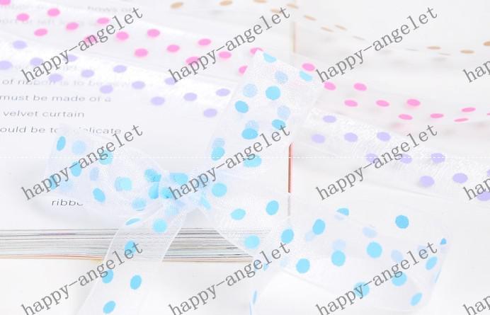 DIY Material Nylon Organza druckte Band Süßigkeit-Farben-Band für Geschenkverpackung DIY Stirnband Bowknot 200Y / roll
