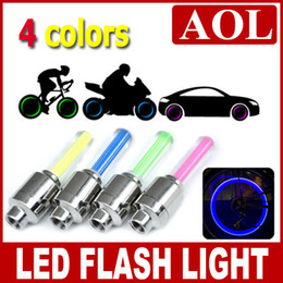 Wholesale Tyre Flys - 500pcs Flash flashing fire flys LED Tyre Light Car Bicycle Bike Tyre Wheel Valve sealing Cap Stem