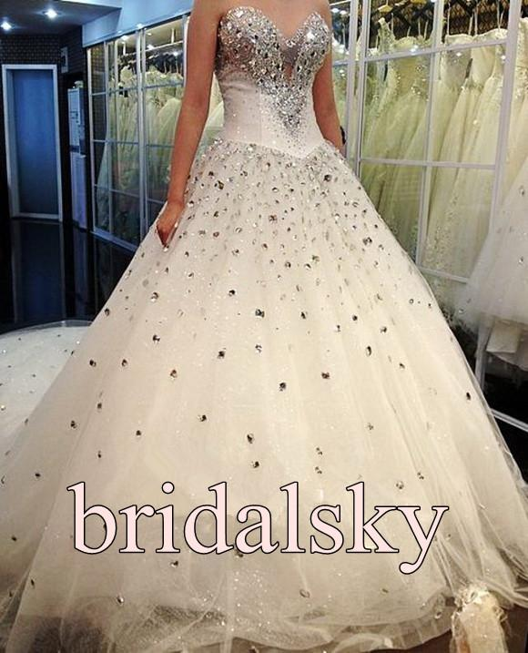 Discount Ivory Rhinestone Actual Images Sweetheart A Line Chapel Train Wedding Gowns Bridal Dresses H 579 Cheap Gown Designer Lace