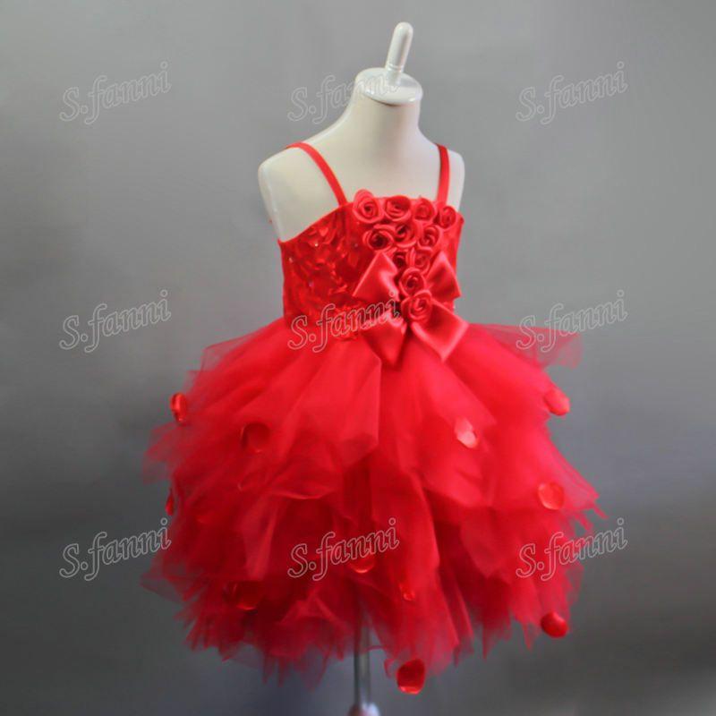 Prix de gros! Robes De Fille De Fleur De Style De Tutu Taille Fait