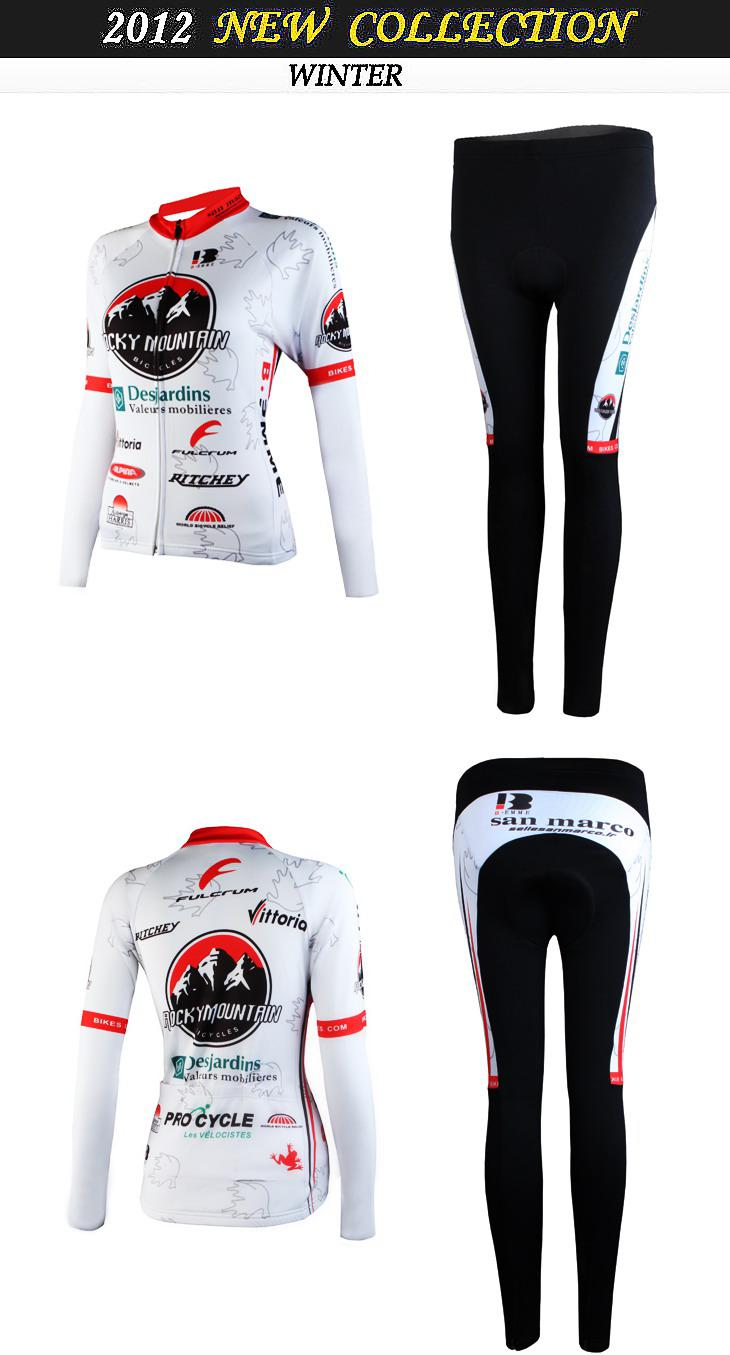 Kvinnors Winter Fleece Thermal Cykling Long Jersey + byxor 2012 Rocky Mountain White-Pick Storlek: XS-XXL R09