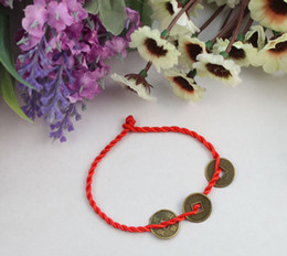 Wholesale Chinese Red Bracelet - 24pcs Chinese Coin Red Lucky Bracelets Free Shipping #22114