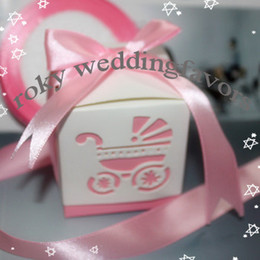 Wholesale Laser Carriage Favor - Free Shipping!50pcs lot, Baby's Day Out Laser-Cut Carriage Candy Boxes Favors with Satin Ribbon