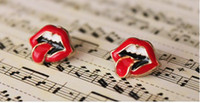 Wholesale Tongue Stud Earrings - Beautiful Red Lips Big Tongue Stud Earrings Retro Fashion Earring New Girls' Earring