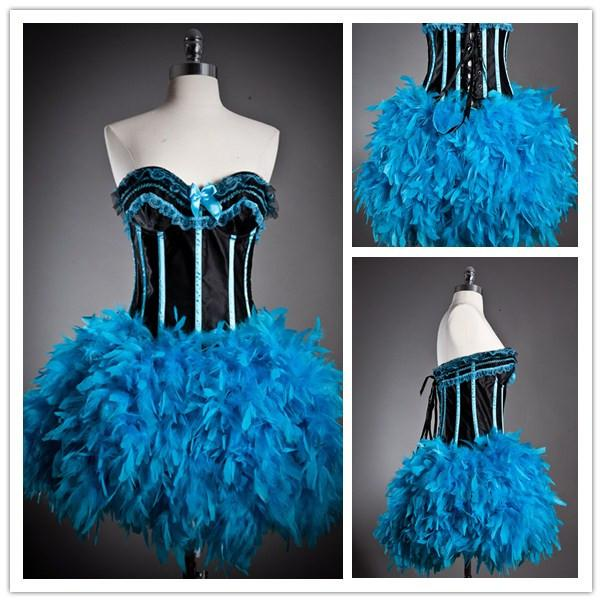 custom halloween costume dresses burlesque corset prom dress strapless black and blue feather cocktail dresses christmas party dresses cheap tight party