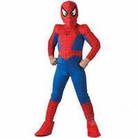 ropa spiderman al por mayor-Ropa de Halloween para niños, disfraces de Spiderman de la mascota de Halloween para niños, traje de Spider-Man para niños