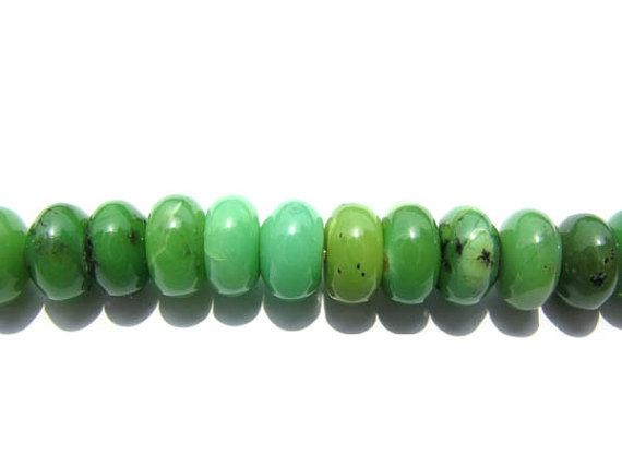 Gergous Rondelle Abacus Green Yellow Black Faceted Natural Chrysoprase Gemstone Bead 5x8mm --2stands