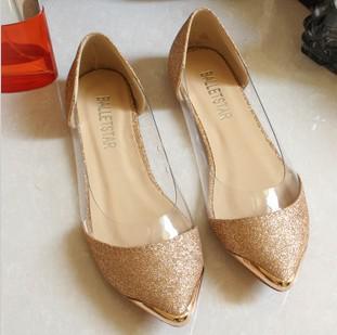 Yeni şık metal / kapalı burun şeffaf parlak Asakuchi bale düz ayakkabı kadın ayakkabı sivri sivri