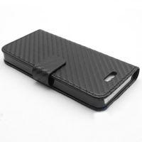 ingrosso iphone 5 casi-Custodia Folio in pelle di nuovo stile 20x in fibra di carbonio per Apple iPhone 5 5th 5G
