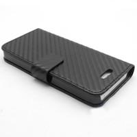 iphone 5th hüllen großhandel-Neue Ankunft 20x Carbon Fibre Kevlar Stil PU Leder Folio Fall für Apple iPhone 5 5. 5G