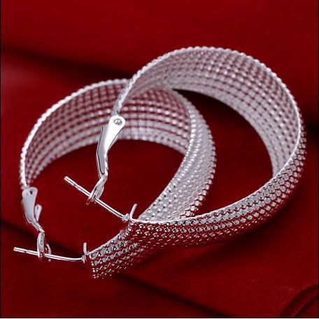 高品質925シルバーメッシュフープイヤリングファッションジュエリー送料無料10pair /ロット