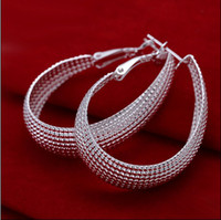 Wholesale Wholesale Fashion Mesh Hoop Earrings - High quality 925 silver mesh hoop earrings fashion jewelry free shipping 10pair lot