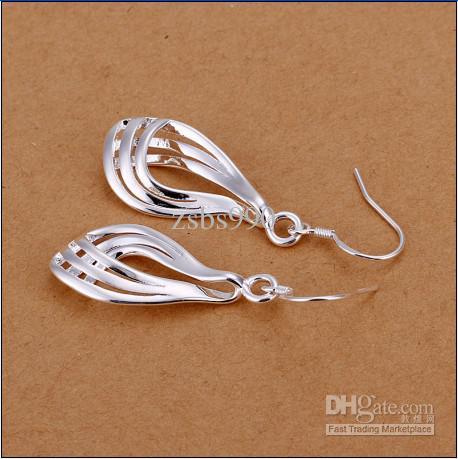 Brand new alta qualidade 925 de prata de três fios de papelão ondulado moda brincos frete grátis 10 par