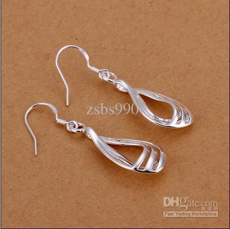 새로운 고품질의 925 실버 3 - 와이어 골판지 패션 드롭 귀걸이 무료 배송 10pair