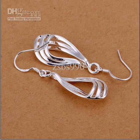 Gloednieuwe hoge kwaliteit 925 zilveren driedraad gegolfde mode drop oorbellen gratis verzending 10pair