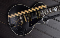 Wholesale Electric Guitar Iron Cross - Custom Shop Classic Iron Cross Style Black Electric Guitar With Gold Hardware