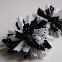 Wholesale Handmade Hairbows - korker bows Boutique hair bows Girls' handmade grosgrain ribbon hairbows with clip hair clips A379