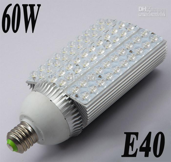 60W E40 LED街灯、7200LM、AC85-265V、2年保証60 * 1W LED街灯ランプ