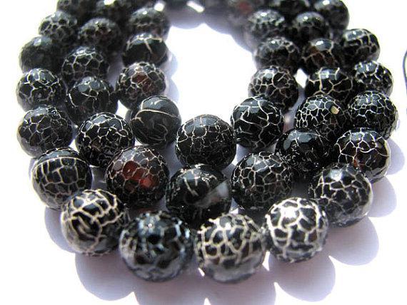 보석 둥근 공 갈라진 정맥 검은 색 제트 여러 가지 빛깔의 화재 마노 원석 구슬 14mm - 5strands 1