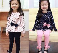 Wholesale Girls Bow Leggings Blue - Girl's Suits Girl's Bow suits Girl's long sleeve bow dot T-shirt + bowknot leggings Princess suits 100% cotton