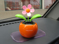 Wholesale Solar Flower Gifts - 200pcs lot With Retail Package Flip Swing Flap Solar Sun Powered Flower Car Toy Gift Free Shipping 0001