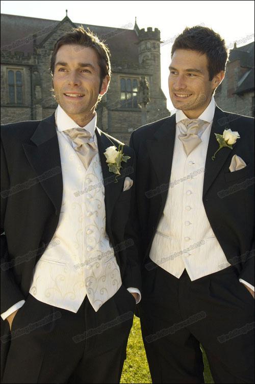 2013 New Black Long Wedding Suits Bridal Groom Mens With White Herringbone Lounge Vest