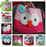 Wholesale Christmas Gift Handmade Children - Girl Kids Handmade Crochet Cute  Owl Sock Monkey Handbag Purse Bag Coin Purses Christmas gifts for children