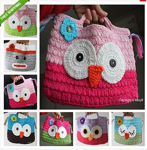 Girl Kids Handmade Crochet Cute  Owl Sock Monkey Handbag Purse Bag Coin Purses Christmas gifts for children
