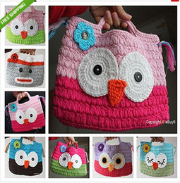 Wholesale Girls Handmade Purses - Girl Kids Handmade Crochet Cute  Owl Sock Monkey Handbag Purse Bag Coin Purses Christmas gifts for children