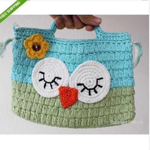 Girl Kids Handmade Crochet Cute /Owl Sock Monkey Handbag Purse Bag Coin Purses Christmas gifts for children