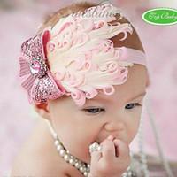 bebekler tüy baş bantları toptan satış-Tüy bebek kafa kız 'hairbands hairwear bebek saç kravat çocuk Saç Aksesuarları