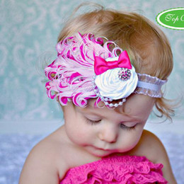 Wholesale Tie Head Bands - feather baby headband girls' hairbands Christmas hair tie Head bands Hair Accessories 100pcs