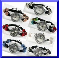 Wholesale Quartz Shamballa Watch Bracelet - Women Shamballa Bracelet Watch Crystal Bling Disco Ball Shamballa Watches charm jewelry XMAS gift