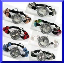 Wholesale Crystal Ball Bracelet Watch - Women Shamballa Bracelet Watch Crystal Bling Disco Ball Shamballa Watches charm jewelry XMAS gift