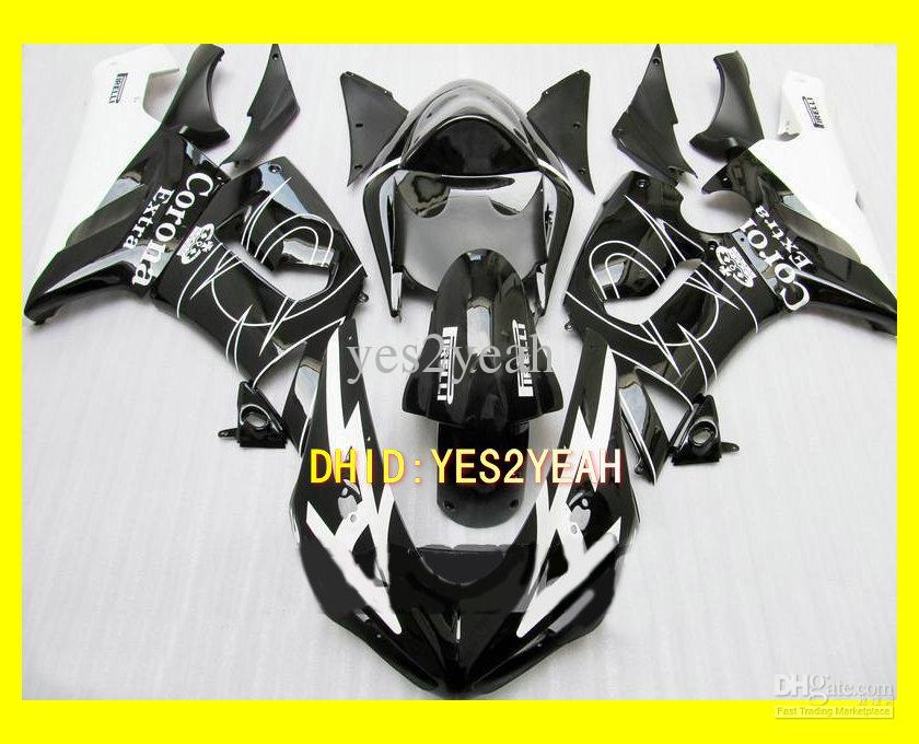 페어링 바디 키트 KAWASAKI 닌자 용 ZX6R 05 06 ZX-6R 636 Bodywork ZX 6R 2005 2006 화이트 블랙 페어링 + 선물 세트 KP22