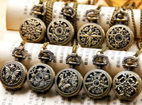 Wholesale Pendant Pocket Watch Necklace - 50PCS (9 model) Ladies Gorgeous Stamped Pocket Watch Charm Pendant Necklace Unisex Women's Watches