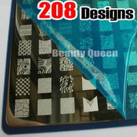 Wholesale Nail Art Stamping Xxl - 208 Designs XXL Large Stamping Plate French Full Desgin Nail Art Kond Image Plate Stencil Template
