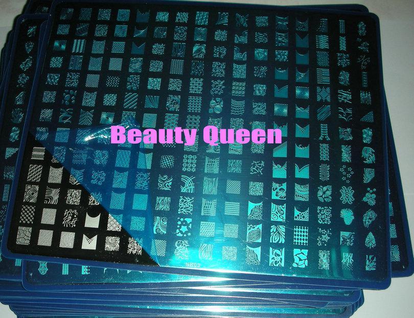 697 Designs A + B + NK03 Nail Art große Stempelplatte Stempel XXL Bild Schablone Druckvorlage DIY