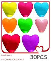 Wholesale Chinese Light Love - 30pieces kong ming deng Love Heart Flying Sky Lanterns Wishing Lanterns Chinese Wish Light Flame Sky