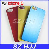 Wholesale Iphone5 Chrome - Luxury Brushed Metal Aluminum Chrome Hard Case For iPhone 5 5G 5S New iPhone5 5S