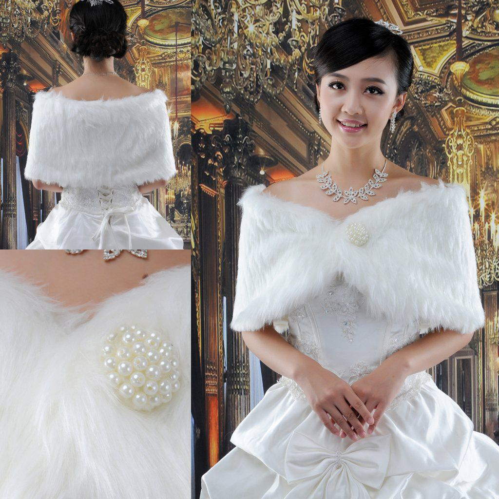 2017 Hottest !white Fur Wrap Shrug Bolero Coat Bridal Shawl Bridal ...