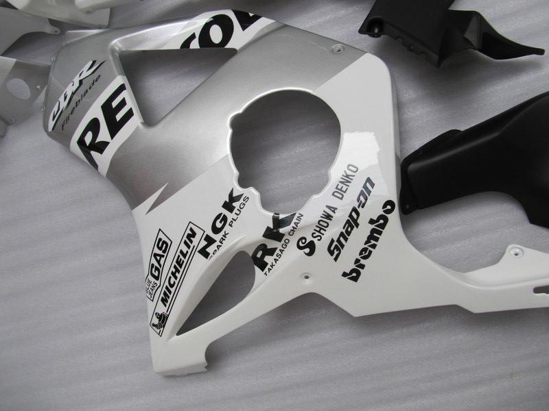 Honda CBR900RR için beyaz gümüş Repsol Fairings kiti 954 CBR CBR954RR CBR954 2002 2003 02 03 motosiklet kaporta